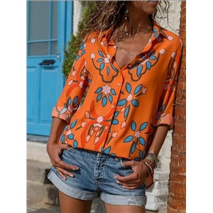 Orange Chiffon Floral Print Long Sleeve Chic Women Shirt