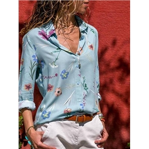 Blue Chiffon Floral Print Long Sleeve Chic Women Shirt