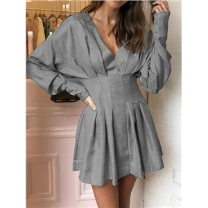 Gray Cotton Blend V-neck Ruched Detail Batwing Sleeve Mini Dress