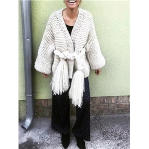 White Open Front Tassel Ribbon Waist Puff Sleeve Knit Cardigan
