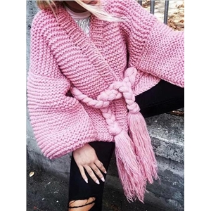Pink Open Front Tassel Ribbon Waist Puff Sleeve Knit Cardigan