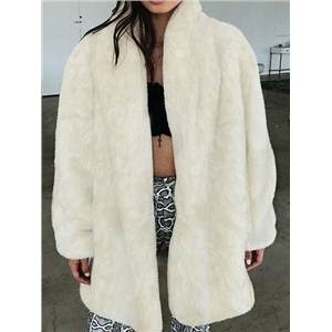 Beige Lapel Long Sleeve Faux Fur Fluffy Coat