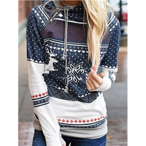 Dark Blue Print Detail Long Sleeve Christmas Women Hoodie