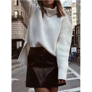 White High Neck Split Side Long Sleeve Women Knit Sweater