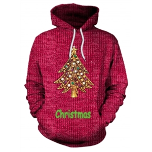 Christmas Tree 3D Print Hooded Loose Sweatshirt
