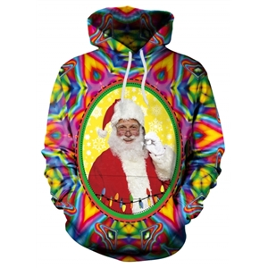 Christmas Santa Clause Exotic Fantasy Print Hooded Sweatshirt