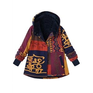Cotton Single Breasted Print Fleece Thick Plus Size Hooded Coat