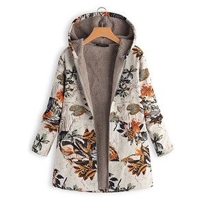 Warm Cotton Linen Printed Fleece Hooded Jacket Coat