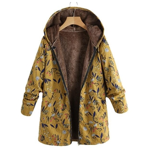 Warm Cotton Printed Plush Hooded Large Size Coat