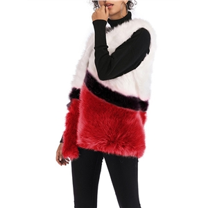 Winter Warm Color Block Faux Fur Plush Vest Coat