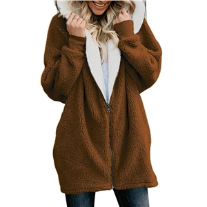 Warm Faux Lamb Fur Zipper Hooded Cardigan Coat
