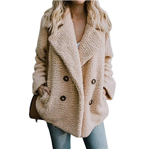 Warm Double Breasted Lapels Loose Fleece Coat