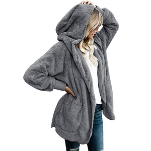 Long Sleeved Fleece Hooded Cardigan Coat