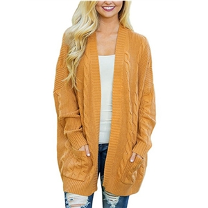 Fashion Medium Double Pockets Twist Knit Cardigan