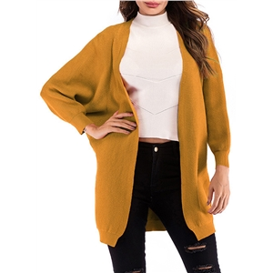 Batwing Sleeve Knit Loose Cardigan Solid Color Long Shawl Coat