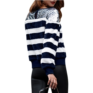 Round Neck Long Sleeve Stripes Cashmere Pullover Sweater