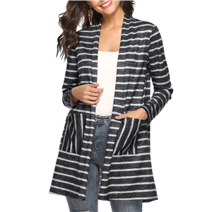 Stripe Double Pockets Stitching Shawl Long Cardigan