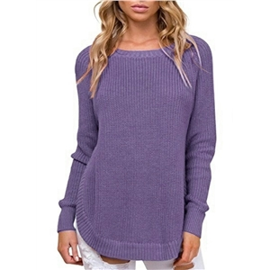 Round Neck Hem High Slit Long Sleeve Knit Pullover Sweater