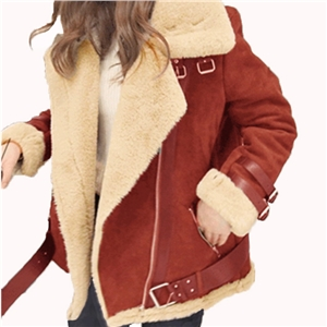 Locomotive deerskin imitation lambskin plus velvet padded jacket female jacket