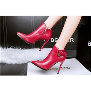 Fashion snake-tip pointed stiletto ankle boots