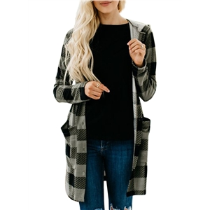 Plaid Printed Long Sleeve Pocket Hooded Cardigan