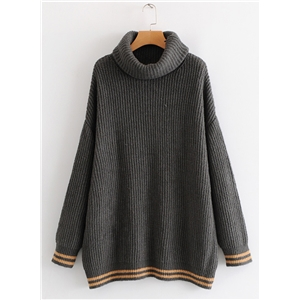 Yellow Hem High Neck Casual Loose Fashion Sweater