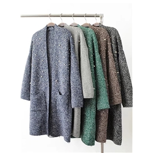 Pearl Double Pockets Solid Color Loose Cardigan