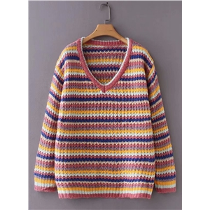 Rainbow Striped V-neck Long Sleeve Casual Loose Sweater
