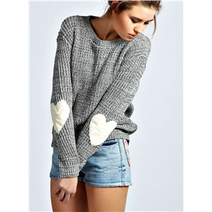 Round Neck Elbow Heart Patchwork Casual Sweater
