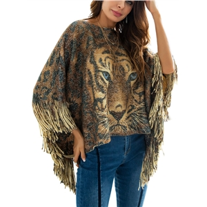 Tiger Head Gold Silver Thread Tassel Knit Irregular Shawl Cloak