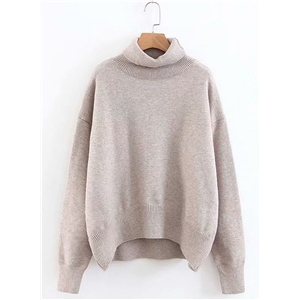 Turtleneck Solid Color Long Sleeve Loose Sweater