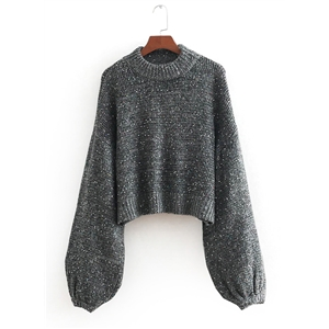 Round Neck Lantern Sleeve Sequin Sweater