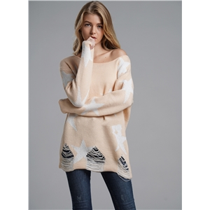 Fashion Star Printed Loose Pullover Casual Sweater