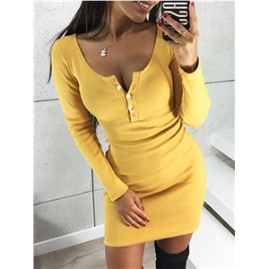 Yellow Button Placket Front Long Sleeve Bodycon Mini Dress