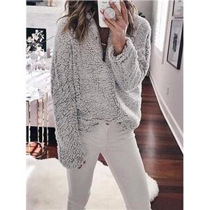 Gray High Neck Long Sleeve Women Fluffy Sweatshirt
