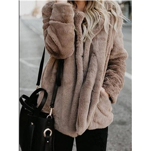 Khaki Lapel Pocket Detail Long Sleeve Women Fluffy Coat
