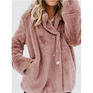 Pink Lapel Pocket Detail Long Sleeve Women Fluffy Coat
