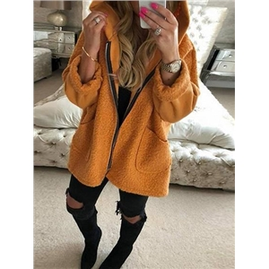 Orange Pocket Detail Long Sleeve Women Fluffy Hooded Coat