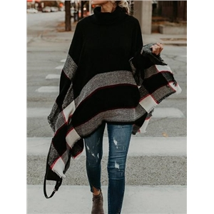 Black High Neck Batwing Sleeve Women Knit Sweater