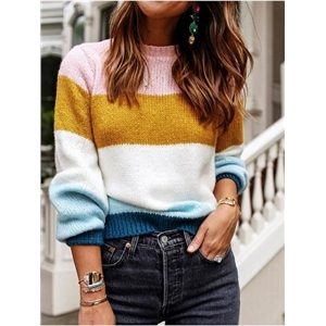 Polychrome Stripe Crew Neck Long Sleeve Mohair Knit Sweater