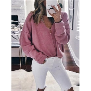 Pink V-neck Long Sleeve Chic Women Knit Sweater