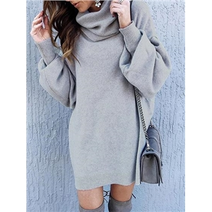 Gray High Neck Puff Sleeve Women Knit Sweater