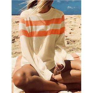 Orange Stripe Panel Long Sleeve Chic Women Sweater