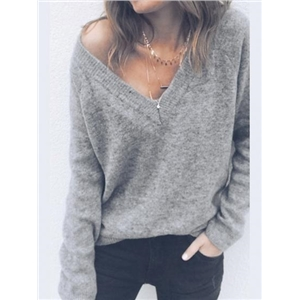 Gray Cotton Blend V-neck Long Sleeve Sweater