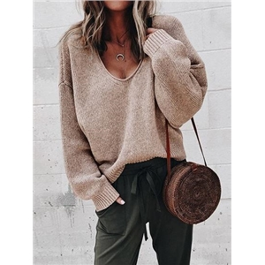 Khaki V-neck Long Sleeve Women Knit Sweater