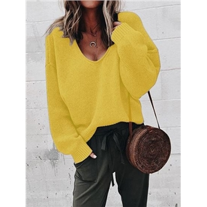 Yellow V-neck Long Sleeve Women Knit Sweater