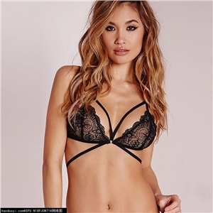 Sexy Perspective Solid Color Lace Underwear Set - Black Underwear