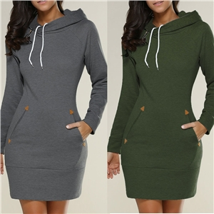 Hooded high collar long sleeve sweater dress