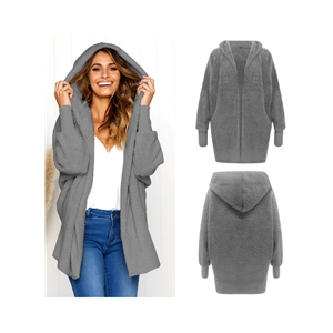 Fashion Double Plush Long Sleeve Hooded Cardigan