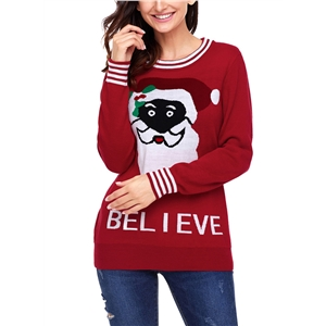 Christmas Santa Claus Round Neck Letter Print Pullover Sweater